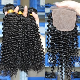 curly weave silk closure Australia - Indian Virgin Hair Kinky Curly Human Hair Weaves 3 Bundles With 4*4 Silk Base Lace Closure Curly Hair Extensions And Silk Top Closure