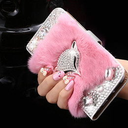 $enCountryForm.capitalKeyWord NZ - For Samsung galaxy s5 s6 s7 s8 edge plus Korea style Luxury Cute Rabbit Fur Fox Diamonds Rhinestones wallet leather case cover