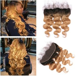 2tone Hair Canada - Body Wave Ombre Lace Frontals 13x4 With Baby Hair 2Tone 1B 27 Dark Root Honey Blonde Ombre Brazilian Hair Full Lace Frontal Closure