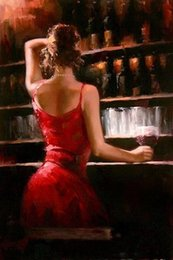 $enCountryForm.capitalKeyWord Canada - Framed Fabian Perez Impressionism Bar girl in Red Dress,Pure Hand Painted Portrait Pop Art Oil Painting On Quality Canvas.Multi sizes yx-pa