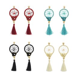 Barato Sonho, Coletor, Ouro-idealway 4Colors Fashion Boho Long Drop Gold Plated Tassel Party Dangle Dream Catcher Earrings 12Pairs / lot