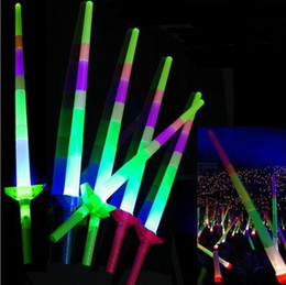 light stick glowing wand 2019 - Glow Stick LED Colorful rods led flashing Sword light cheering party Disco glow wand Soccer Music concert Cheer props pr