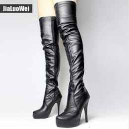 Motorcycle Boots 46 Canada - Free Shipping Women 5.5'' High heeled boots over knee long boot girls Thin heel platform fashion sexy thigh boots Plus size36-46 shoes