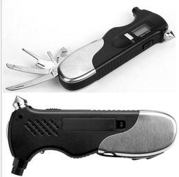 Car Tire Repair Canada - Auto Car Emergency tool with Digital Tire Pressure Gauge Safety Hammer LED Flashlight bottle opener army knife multifunctional repair kits