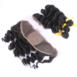 34 inches hair Australia - Malaysian Loose Wave Virgin Hair Weave 3Pcs With Silk Base Lace Frontal Ear To Ear 13*4 Closure With Human Hair Bundles