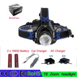 Headlight Focusing Canada - Zoomable Headlamp Headlight 2000Lm XML T6 Rechargeable LED head torch Adjust Focus +Charger+ 2 x Battery