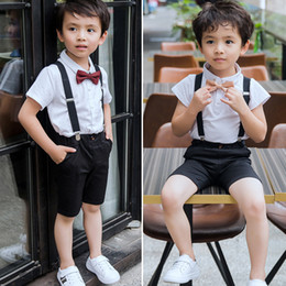 tie downs NZ - 2017 New Gentleman Boys Sets Summer T-shirts Bow Tie Tops + Shorts Suspender Pants Trousers 2piece Sets Suits Kids Clothes Boy Sets A7117