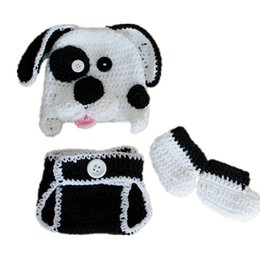 infant girl booties UK - Newborn Puppy Costume,Handmade Knit Crochet Baby Boy Girl Dog Animal Hat Diaper Cover Booties Set,Infant Halloween Costume Photo Prop