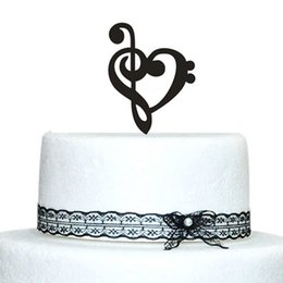 Wholesale Customized Music Note Wedding Cake Toppers With Heart Design Acrylic Topper