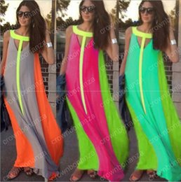Barato Vestidos Baratos Sundresses Maxi-10pcs Casual Dresses Bright Color Patchwork sem mangas Sundress Big Skirt Loose Vestido longo Cheap Women Maxi Dresses