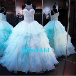Enveloppement En Dentelle Détachable Pas Cher-Sparkly Ball Gown Beaded Crystal Quinceanera Robes Sweetheart Keyhole Lace-up Back Ruched Tulle Long Prom Promenade Pageant Robes pour Femmes