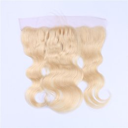 613 lace frontal UK - Virgin Brazilian Blonde Human Hair Full Lace Frontal Body Wave #613 Bleach Blonde Ear to Ear 13x4 Frontal Closure With Baby Hair