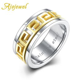 online shopping Ajojewel Brand Quality Classic Simple Cool Style Gold Plated Male Ring Titanium Steel