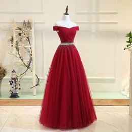 Strapless Sequin Red Dress Australia - Dark Red Evening Dresses Strapless Lace-up Back Pleats Tulle with Sparkling Sequins Beads Floor-length Ball Gown Prom Dress
