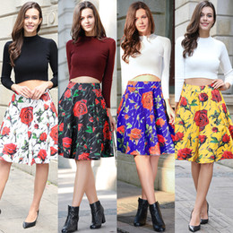 $enCountryForm.capitalKeyWord NZ - Summer Pleated A Line Skirt Vintage Rose Print Contract Color Cotton Blend Casual Knee Length Party Skirt 2017 New Arrival