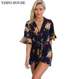 8079d453ac1 YJSFG HOUSE Fashion Women Summer V-neck Short Jumpsuit Rompers Sexy Elegant  Floral Print One Piece Playsuit Catsuit With Belt q170669
