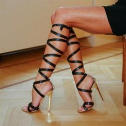 Strappy Knee High Gladiator Heels Online | Strappy Knee High ...