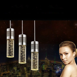 transparent cylinder 2019 - Modern light Crystal Pendant Lamp Bubble Crystal Light with LED Bulb Cylinder Shade Droplight Chandelier Ceiling Light B