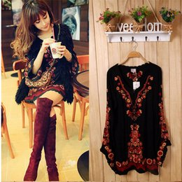 Wholesale- 2016 New Brand Ethnic Women Long Sleeve Vintage Mexican  Embroidered Floral Boho people Top Tunic Loose Short dress S M L