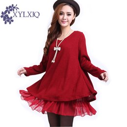 Wholesale plus size bow sweater resale online - New Autumn Winter Women Chiffon Splice Sweater Dress Big Plus Size Bow Knitted Loose Casual Knitted Pullover Dress ja734