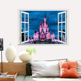 Fancy Wall Art NZ - Fancy Castle 3D Wall Sticker PVC Classic Wall Art Mural for Living Room Kids Room and Kids Room Decoration