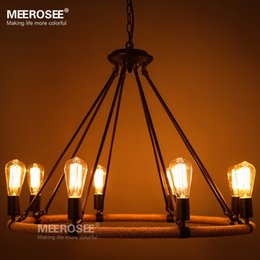 Fitting Rooms Canada - Vintage Edison bulb pendant light fitting American style Rope drop lamp lustre Antique Edision bulb suspension light for Living room pendant