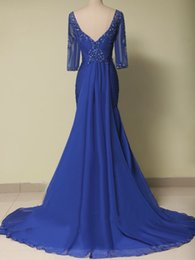 Barato Dresse Mãe-Plus Size Mãe da noiva Dresse Long Royal Blue Chiffon Half Sleeves Vestido elegante para mulheres Evening Party Gowns Custom Made