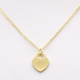 Wholesale 2017 Design Luxury Brand Heart Love Necklace for Women Stainless Steel Accessories Zircon Heart Love Necklace For Women Jewelry