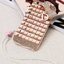 Fashion Phone Case Rhinestones NZ - Fashion Handmade Diamond diamond phone case bow rhinestone phone case cover for iphone 7  7Plus   6 6S  6 6S Plus   5 5S se   5C with strap