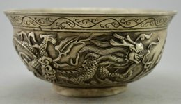 China Pole Australia - Collect exquisite Old Decorated Handwork Tibet Silver Carved Pair Dragon Bowl