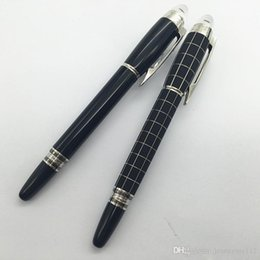 Logo Design Art NZ - MB Best Design Luxury black resin roller pen With Crystal head Logo Office Stationery Luxury Brand Business Writing Gift Pens