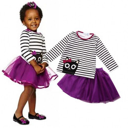 Robes D'été Mauves Pour Les Tout-petits Pas Cher-Summer Toddler Kids 2-6T Vêtements pour filles Vêtements Kitten Pattern Long Sleeves Striped Tops + Purple Skirt Robe Tutu Cool 2PCS Set
