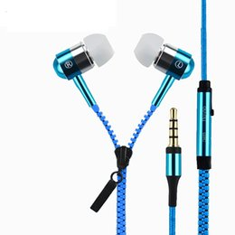 Zipper Earphones Headset 3.5MM Jack Bass Earbuds In-Ear Headphone with MIC for Iphone Samsung MP3 MP4 100pc