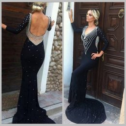 Barato Oi Vestido Baixo Bling-Bling Black Chiffon Prom Dress Mermaid Scoop Neck Low Back Chapel Train com pérolas Long Sleeve robe de soiree longue