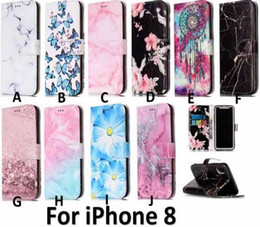 Flip covers For iphone 5c online shopping - Marble Flower Wallet leather Dreamcatcher Butterfly Holder Flip Cover Case For Iphone X G Plus S SE S C Touch Samsung NOTE8