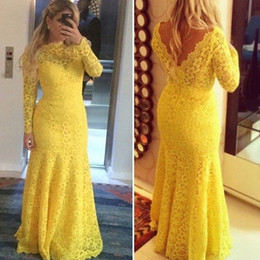 Robes Longues En Bandage Long Pas Cher-Livraison gratuite Graceful Mermaid Lace Robes de soirée jaune Long Sleeve Applique Backless Sweep Train Formal Prom Gowns