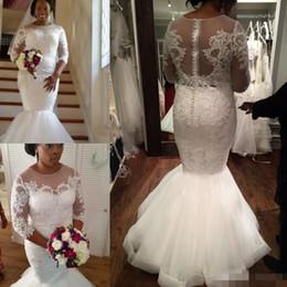 $enCountryForm.capitalKeyWord Australia - Mermaid Wedding Dresses 2019 Brazilian Lace Beads 3 4 Long Sleeve Sheer Neck Plus Size Wedding Bridal Gowns Custom Made African Berta
