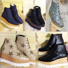 Stella Mccartney Plateforme Bottes Femmes Chaussures Elyse Stars Compensées Qualité Supérieure Blingbling Cuir pleine fleur Oxfords Chaussures 15 Couleurs Baskets en Solde