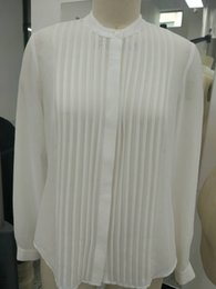 Wholesale Big brand counters with the new version of its female attire pure color silk fold edge long sleeved shirt