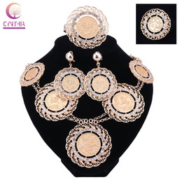 Chinese  Fashion Italian Dubai Abaya Long Jewelry Sets Gold Coins Women African Gold-Plated Crystal Wedding Costume Necklace Earrings Set manufacturers