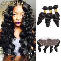 loose wave bundles closures NZ - Cheap Brazilian Human Virgin Hair Loose Wave 3 Bundles with Lace Frontal 13x4 Closure 4 Pieces lot Hair Wefts Weave Wet and Wavy