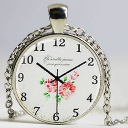 $enCountryForm.capitalKeyWord NZ - Newest vintage handmade necklace jewelry personality dome crystal pendant necklace accessories Flowers glass (not real Clock )