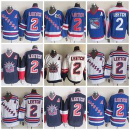 2 Brian Leetch Jersey A Patch Stitched 75th Anniversary Ice Hockey New  York NY Rangers Jerseys Blue Vintage CCM Stadium Cheap 9964f7370