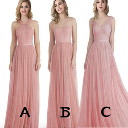 Barato Vestido De Cocktail Cor-de-rosa Modesto-Blush Pink Bridesmaids Dresses Long Formal Longo Comprimento Modesto Tulle Beach Evening Bridesmaid Dresses Frisado Ruched Prom Cocktail Dress