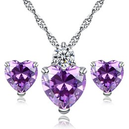 New Comings White Gold Plated Red Purple Crystal Heart Earrings Necklace Set For Girls Women Wonderful Birthday Gift Girl Friend
