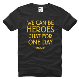 Discount pink hero brand - Hot Summer New Famous Brand David Bowie T Shirts Men Fashion Rock Bowie WE CAN BE HEROES JUST FOR ONE DAY Short Sleeve M