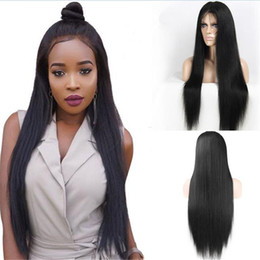 Front Wigs Canada - Stocking Full Lace Wig 1B Silk Straight 30inch Extra Long Brazilian Hair Straight Lace Front Wig Free Shipping
