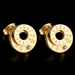 gold studs designs UK - New Design Luxury Stainless Steel CZ Stone Stud Earrings Gold Color Roman Numberal Earring For Christmas Gift