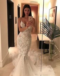 Discount trumpet skirt pattern - Lace Backless Beach 2017 Court Train Mermaid Wedding Dresses Spaghetti Art Deco-inspired Neck sleeveless Tulle Pattern A