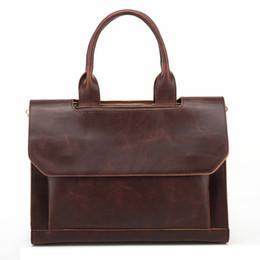 men leather tote bags 2019 - Wholesale- Top PU Leather Men Bags Shoulder Vintage Leather Men's Black Zipper Briefcase Laptop Bag Men Messenger B